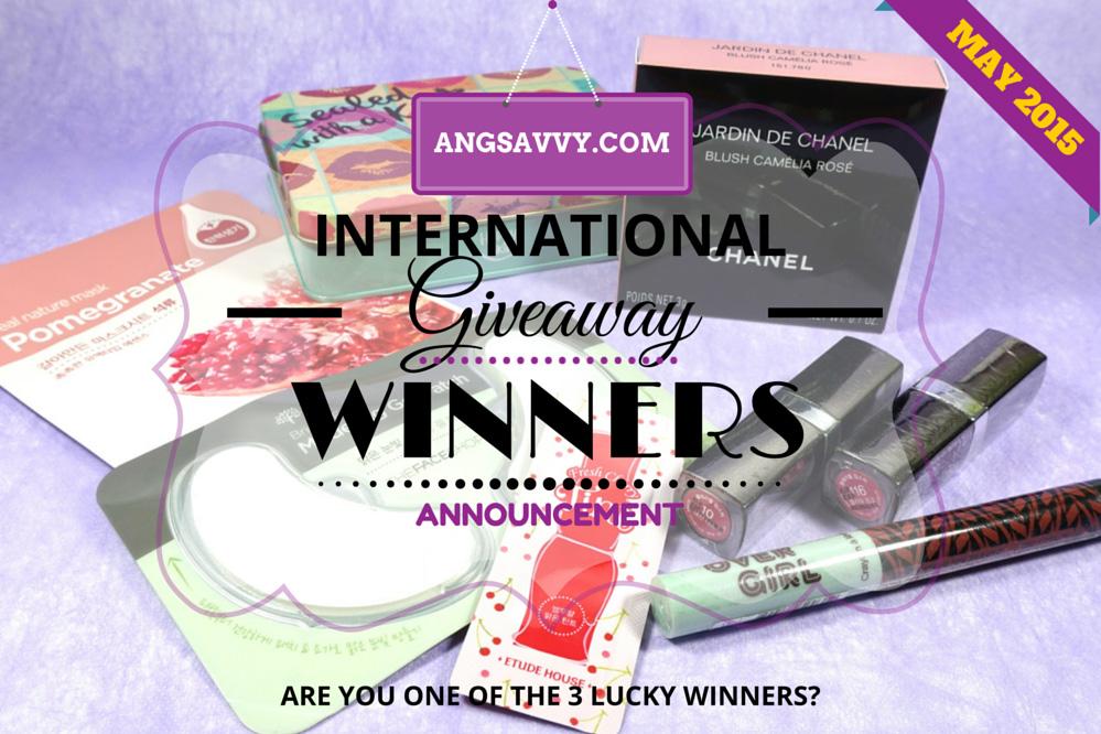Ang Savvy International Giveaway Winners May 2015