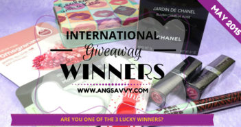 Ang Savvy International Giveaway Winners May 2015