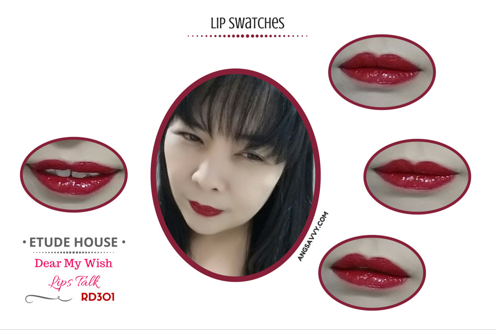 Etude House Dear My Wish Lips Talk RD301 Lip Swatches