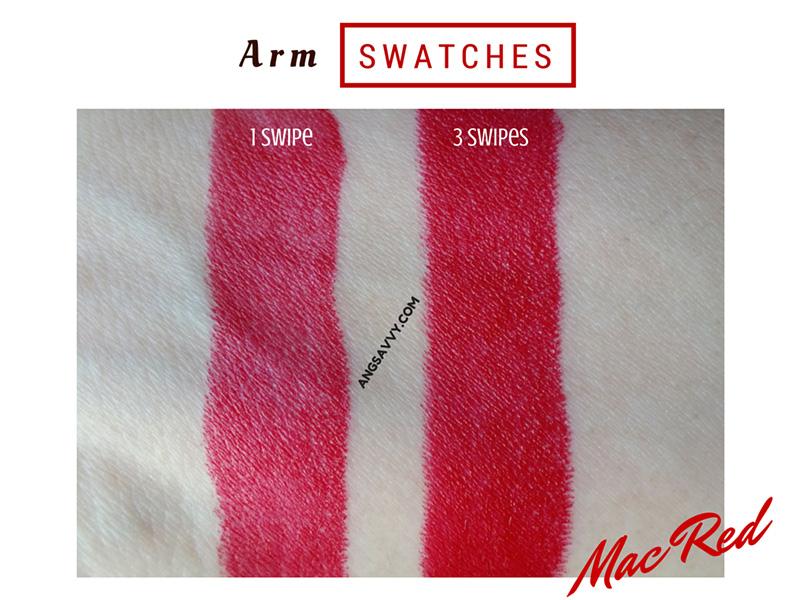 MAC Mac Red Lipstick Swathes
