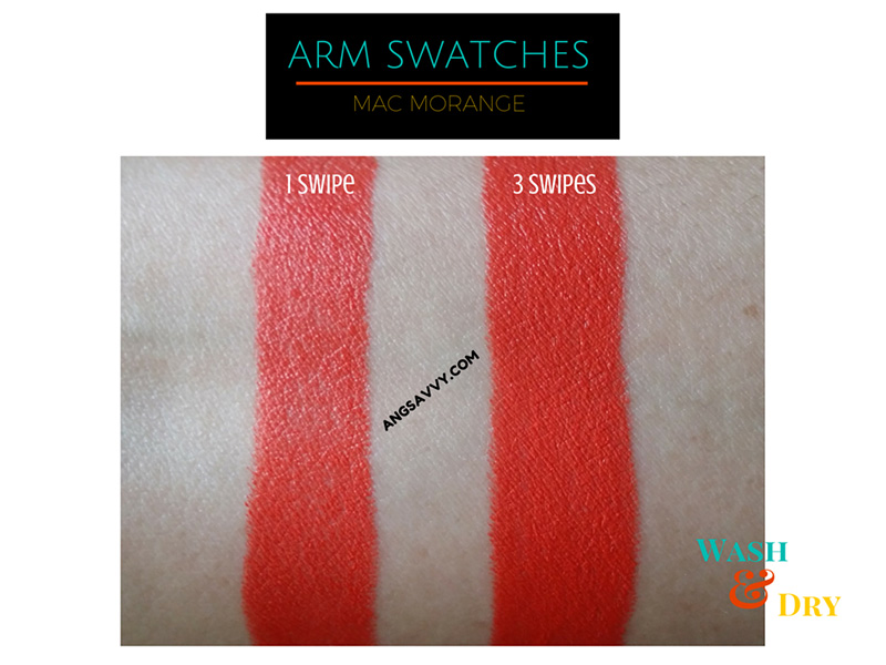 MAC-Morange-Lipstick-Wash-and-Dry-Swatches