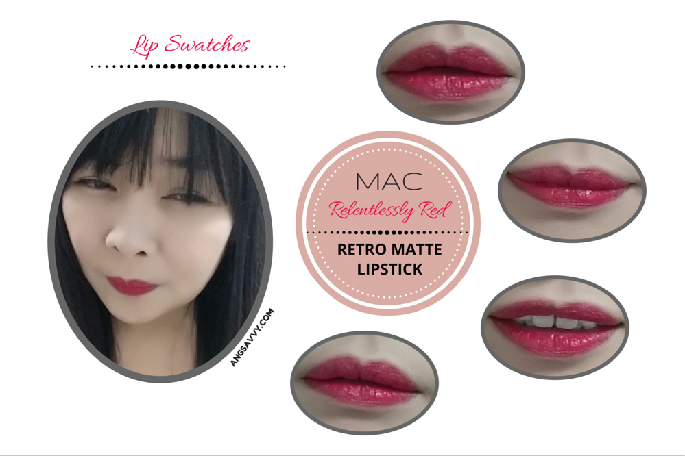 MAC Relentlessly Red Lipstick Lip Swatches
