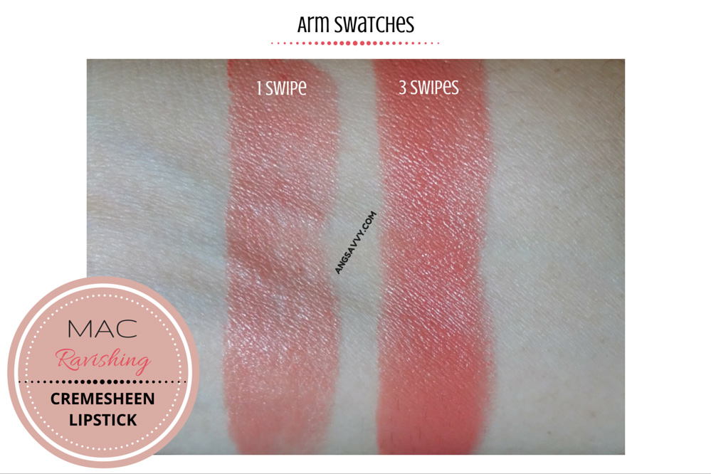 MAC Ravishing Lipstick Cremesheen Swatches