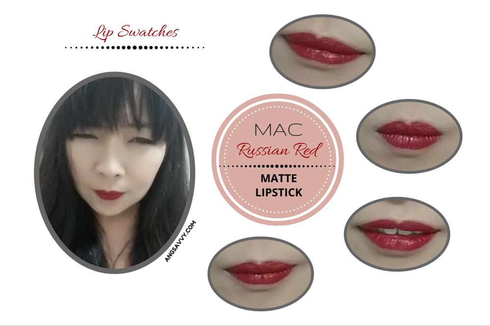 MAC Russian Red Lipstick Lip Swatches