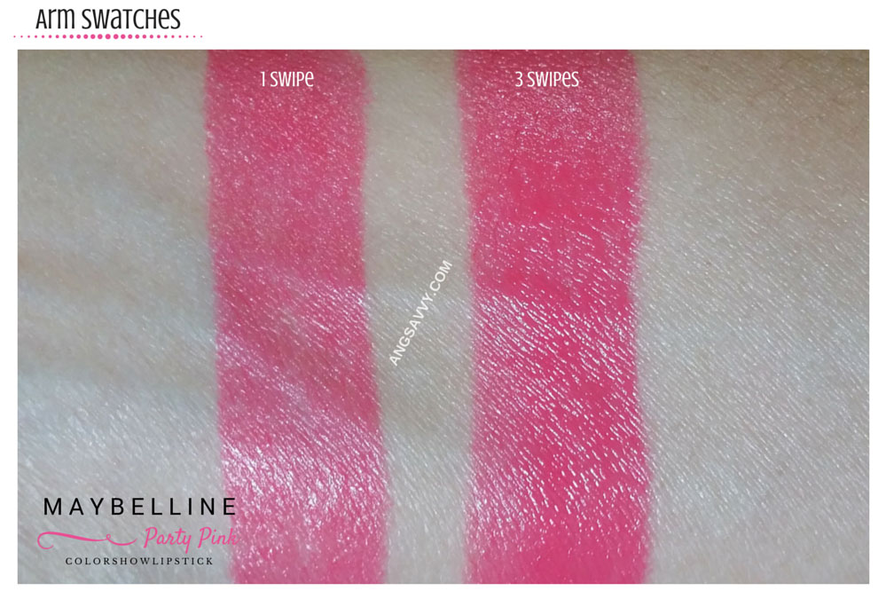 Maybelline Color Show Party Pink Lipstick Swatches