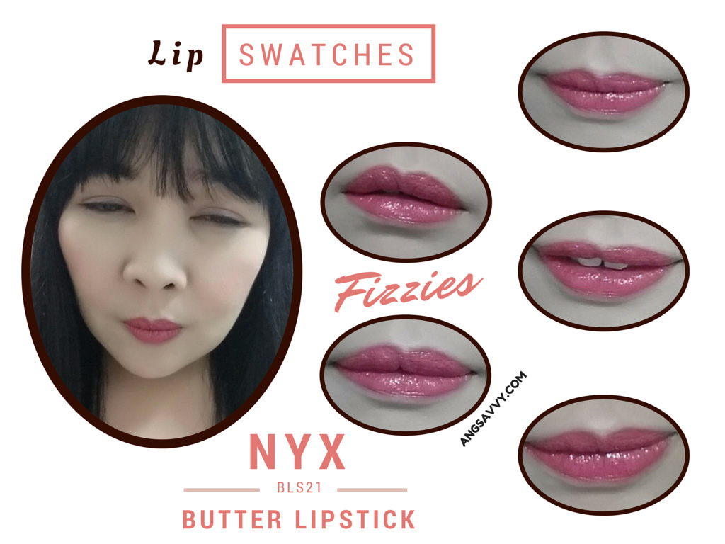 NYX Butter Lipstick Fizzies BLS21 Lip Swatches