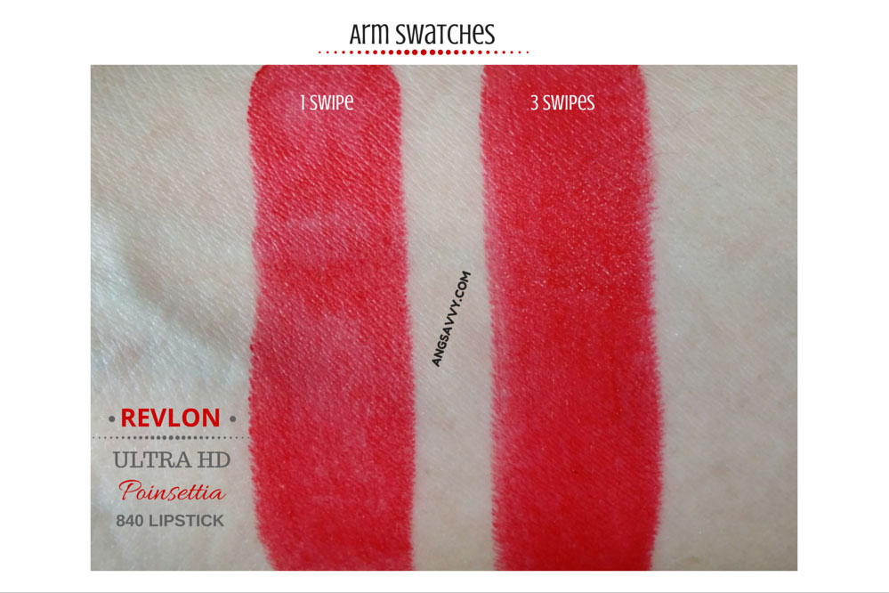Revlon Ultra HD Lipstick Poinsettia 840 Swatches