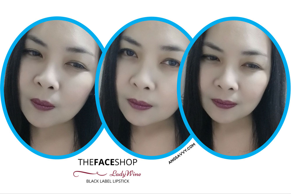The Face Shop Black Label Lipstick Lady Wine 437 Lip Swatches