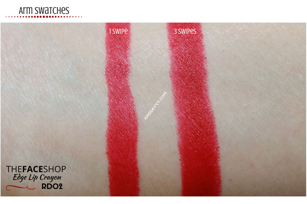The Face Shop Over Girl Edge Lip Crayon RD02 Swatches