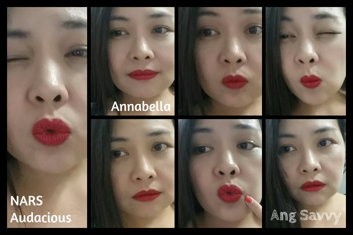 Swatches for NARS Audacious Lipstick in Anabella
