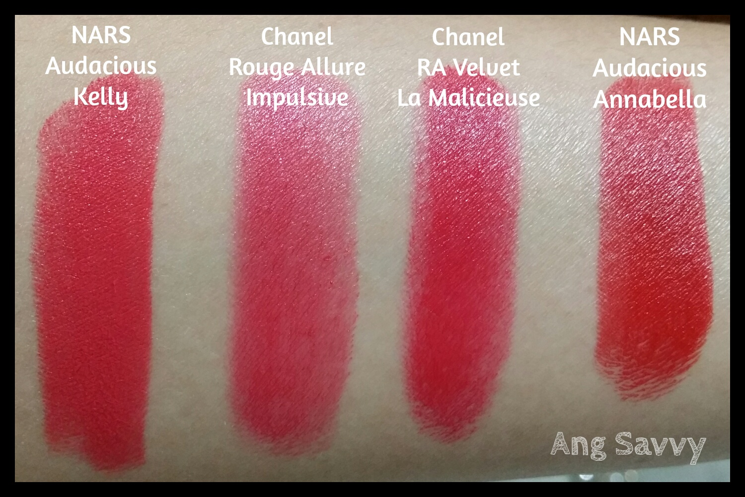 Swatches for NARS Annabella Audacious Lipstick