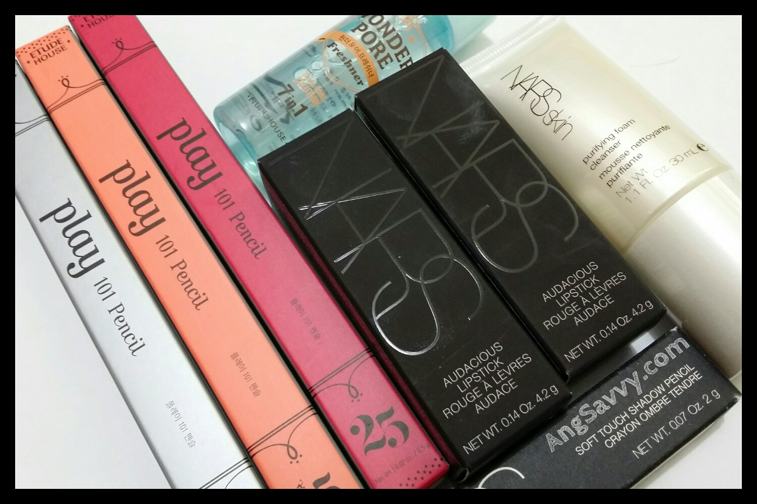 NARS audacious lipstick and Etude House makeup haul