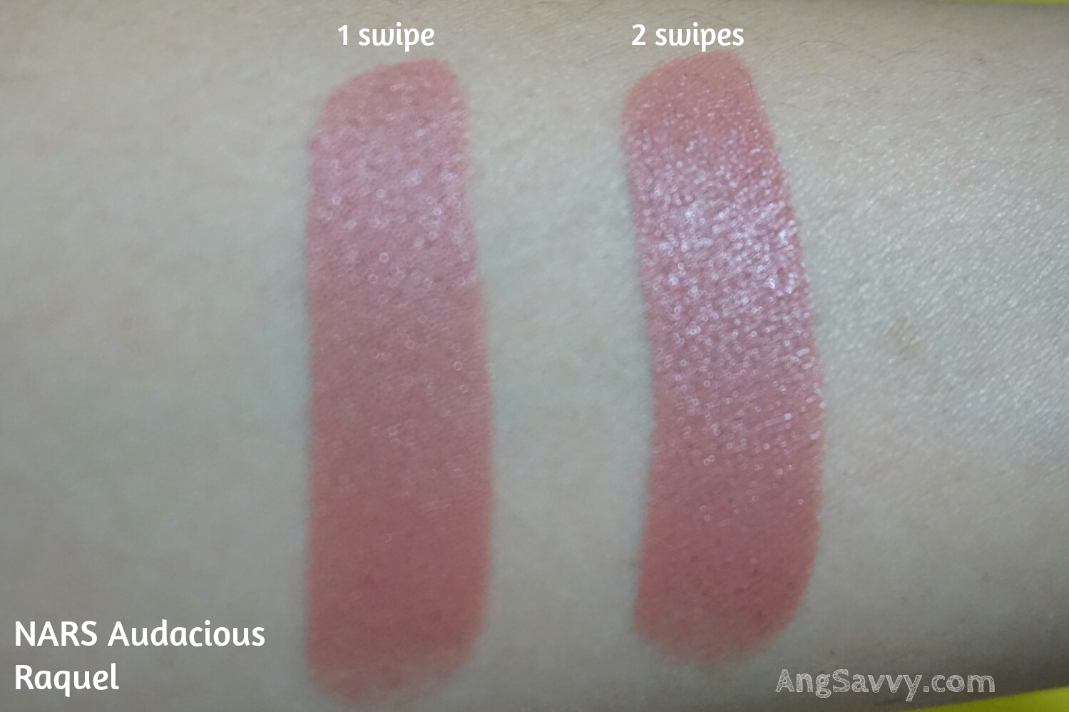 Swatches for NARS Raquel Audacious Lipstick