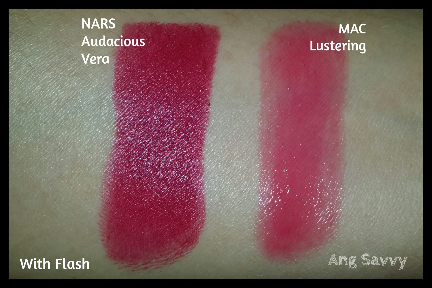 Swatches for NARS Audacious Lipstick in Vera