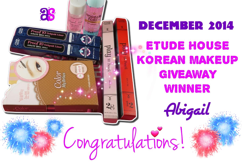 Etude House Korean Makeup Giveaway December 2014 Winner