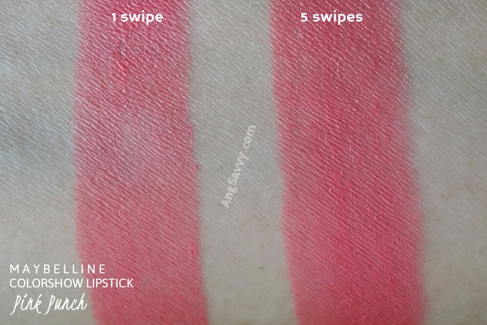 Maybelline Color Show Pink Punch Lipstick Swatches